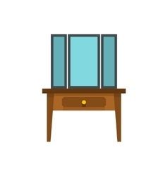 Chest of drawers with mirror icon flat style vector