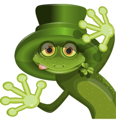 Green frog wearing a hat of saint patrick vector