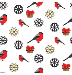 Bullfinch and snowflakes seamless pattern vector