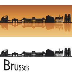 Brussels skyline in orange background vector