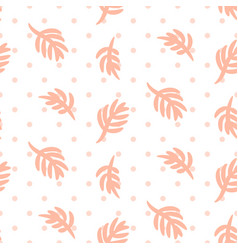 Pink palm leaves on polka dot white seamless vector