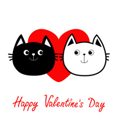Black white contour cat head couple family icon vector