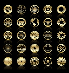 Gold wheels gears steering wheels circular elem vector