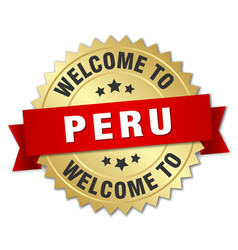Peru 3d gold badge with red ribbon vector