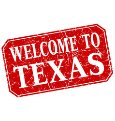 Welcome to texas red square grunge stamp vector