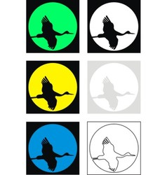 Silhouettes of flying crane vector