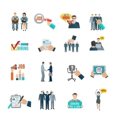 Hire flat icons set vector