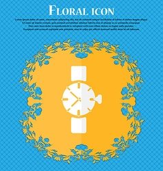Watches icon symbol floral flat design on a blue vector