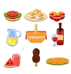 French food icons set vector