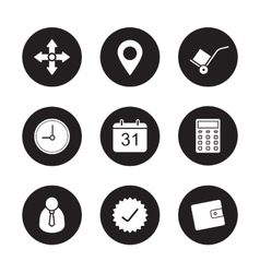 Transportation service black icons set vector