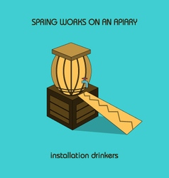 Installation drinkers spring work vector
