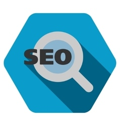 Seo flat hexagon icon with long shadow vector