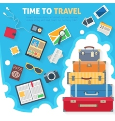 Baggage with travel icons and objects vector