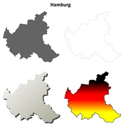 Hamburg outline map set vector