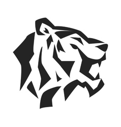 Tiger face head silhouette wild animal vector image
