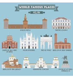 Milan famous places vector