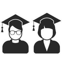 Students in mortarboard hats - graduating students vector image