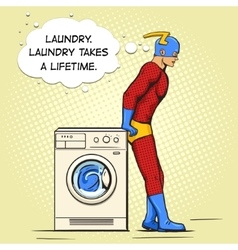 Superhero in the laundry comic book vector