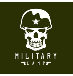 Military camp emblem with skull and guns vector