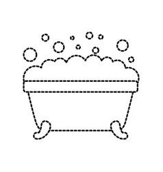 Bathtub foam clean hygiene interior ceramic icon vector