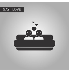 Black and white style icon gays in bed vector