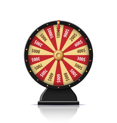 Black wheel of fortune 3d object isolated on white vector