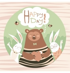 Cute bear and bunny friends vector
