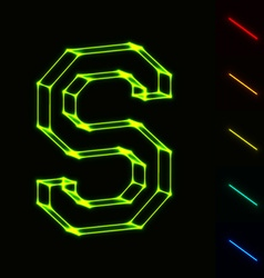 EPS10 glowing wireframe letter S - easy to change vector image