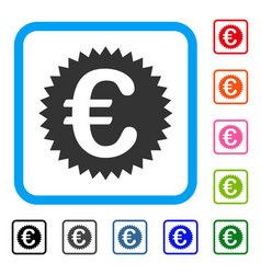 euro warranty stamp framed icon vector image vector image