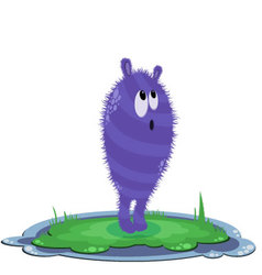 Funny round purple curious monster on the grass vector
