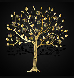 gold tree with flowers vector image vector image