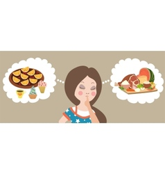 Healthy or junk food choice Beautiful woman vector image