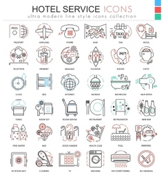 Hotel service color line outline icons for vector image