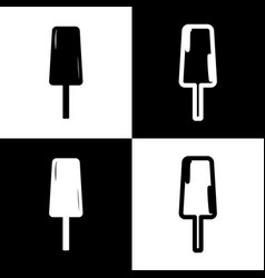 Ice cream sign black and white icons and vector