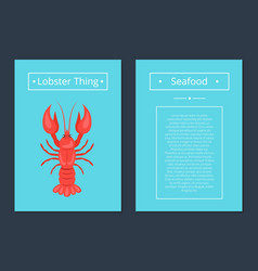 lobster thing seafood poster red crayfish vector image