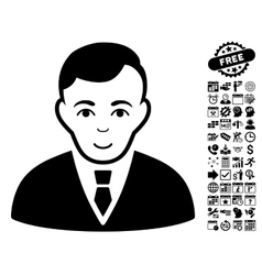 Manager flat icon with bonus vector