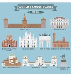 Milan famous places vector