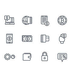 payment methods and internet banking icons set vector image vector image
