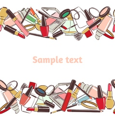 Seamless horizontal pattern make up and cosmetic vector image vector image