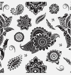 Seamless pattern with mehndi elements floral vector