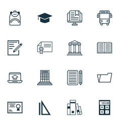 Set of 16 education icons includes document case vector