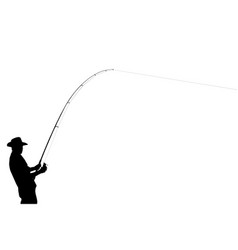 The black silhouette of a fisherman vector