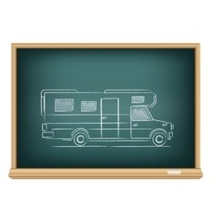trailer drawn on blackboard vector image vector image