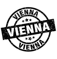 vienna black round grunge stamp vector image