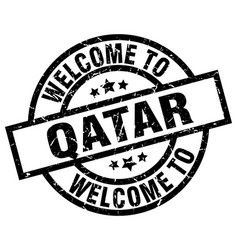 Welcome to qatar black stamp vector