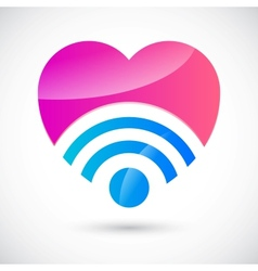 Wi-fi symbol with heart vector