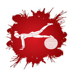 Woman exercising fitness swiss ball vector