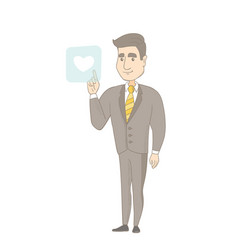 Young businessman pressing web button with heart vector