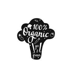 100 organic go green lettering badge vector image