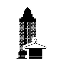 Towel hotel building silhouette design vector
